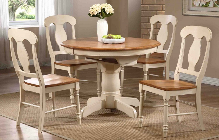 Round/Oval Pedestal Dining Set with Napoleon Back Chair - Caramel/Biscotti