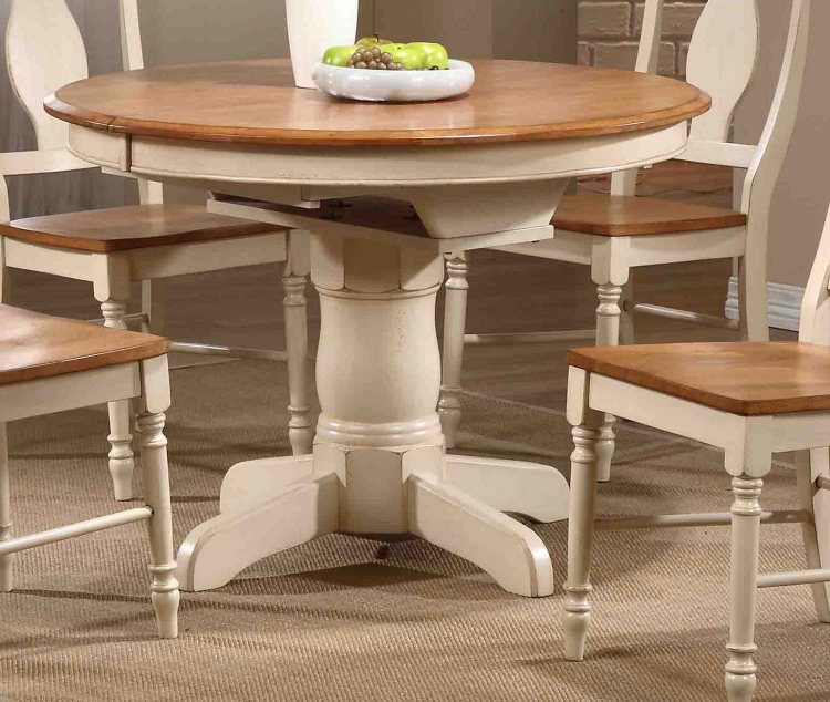 Round/Oval Pedestal Dining Table - Caramel/Biscotti