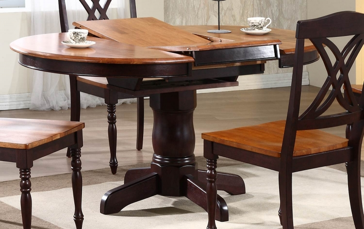 Round/Oval Pedestal Dining Table - Whiskey/Mocha