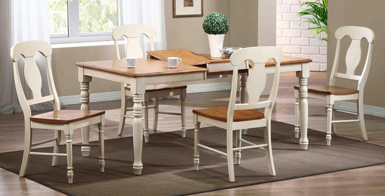 Rectangular Leg Dining Set with Napoleon Back Dining Chairs - Caramel/Biscotti