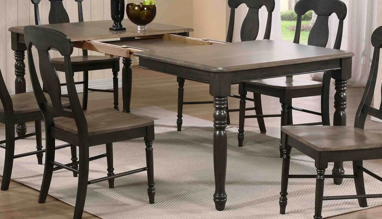 Rectangular Leg Dining Table - Grey Stone/Black Stone