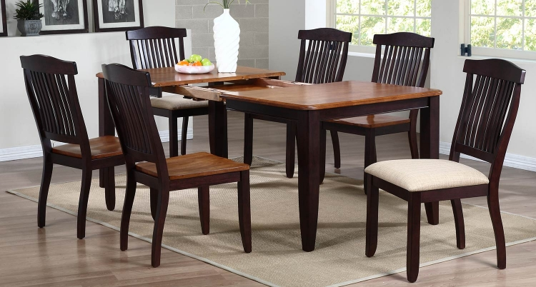 Rectangular Leg Dining Set wiwth Open Slat Back Dining Chair - Whiskey/Mocha