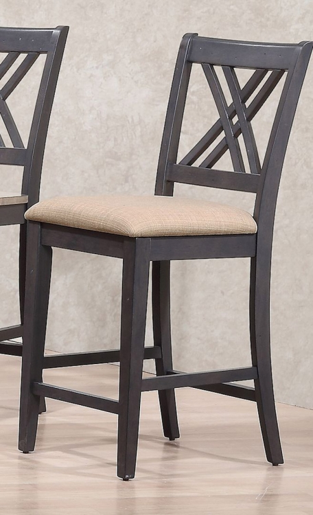 Double X- Back 24-inch Counter Stool Upholstered Seat - Grey Stone/Black Stone