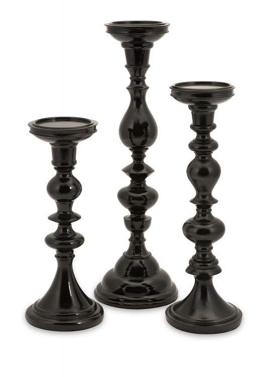 Essential Black Candle Holders - Set of 3