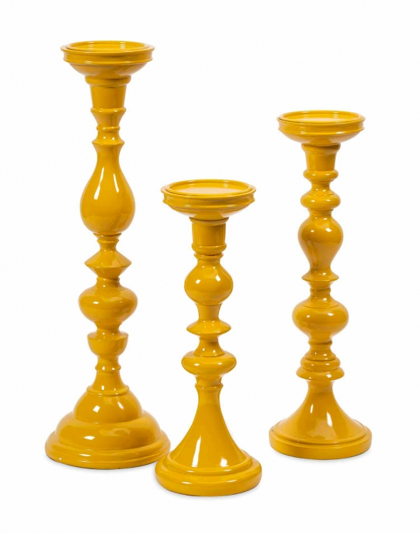 Essentials Mellow Yellow Candle Holders - Set of 3