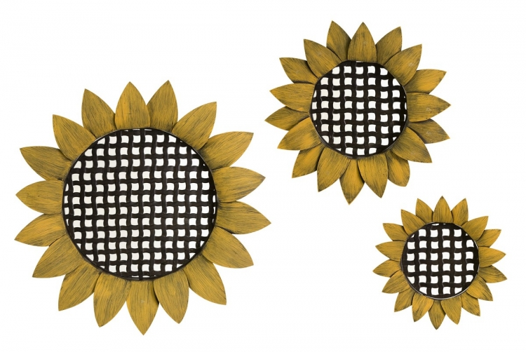 Sunflower Tray Wall Decor - Set of 3 - IMAX