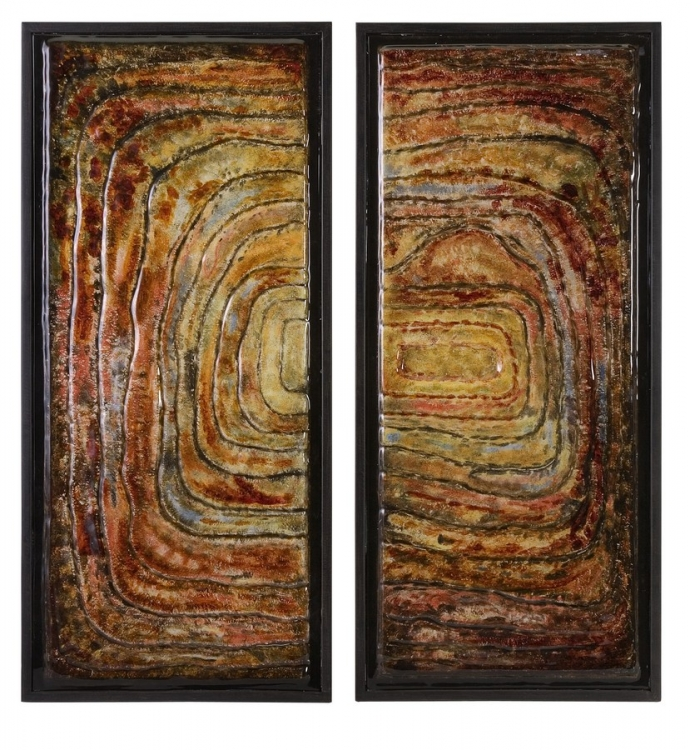 Collage Glass Wall Decor - Set of 2