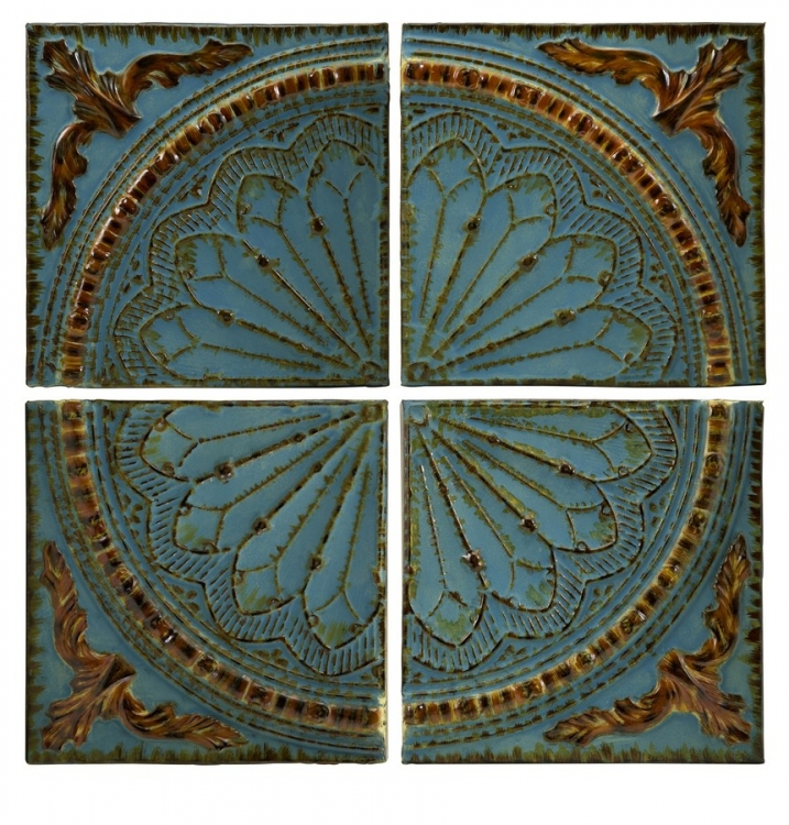 Blue Quarter Medallion Set of 4 Wall Panels - IMAX