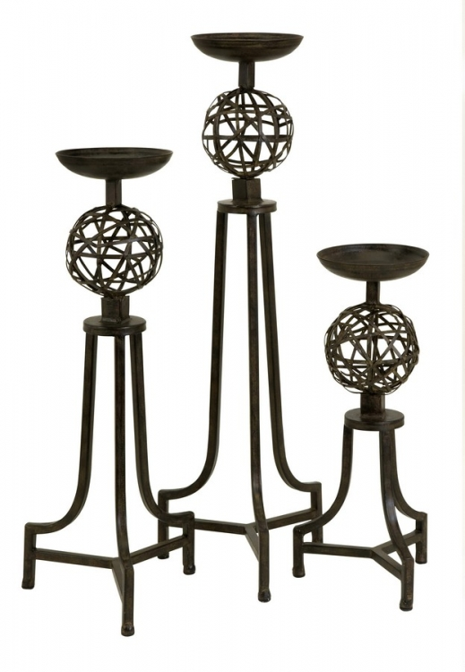 CK Mesh Metal Sphere Candlesticks - Set of 3