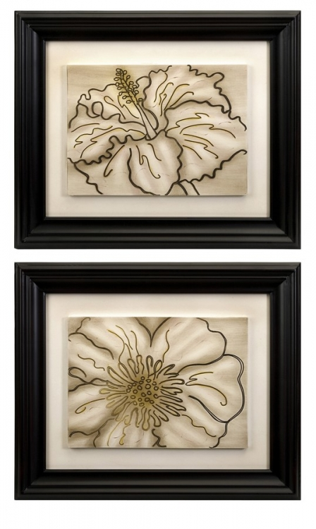 Contour Line Art Flowers - Set of 2 - IMAX