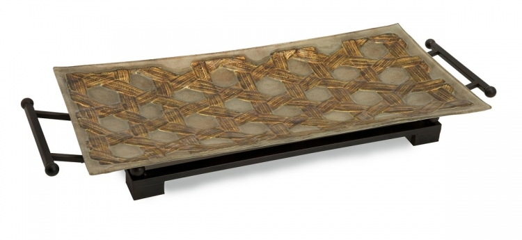 CK Jasper Rect Glass Tray with Metal Stand