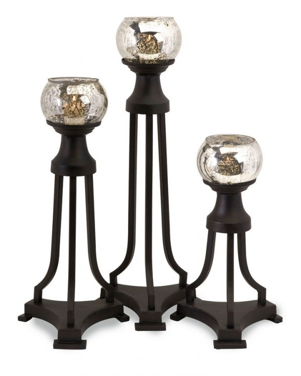CK Jupiter Glass Tri Leg Candleholders - Set of 3