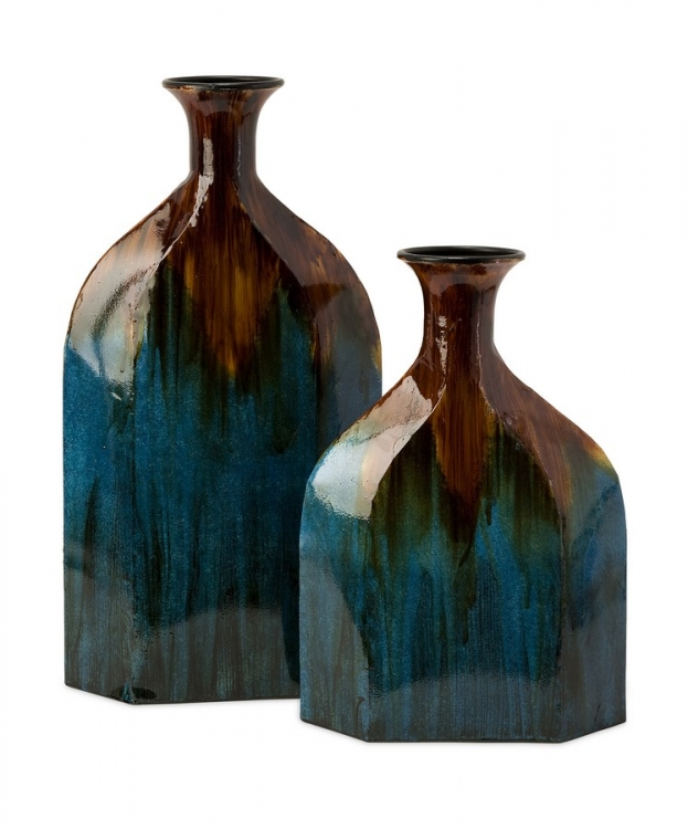 Blaze Blue Drip Bottles - Set of 2