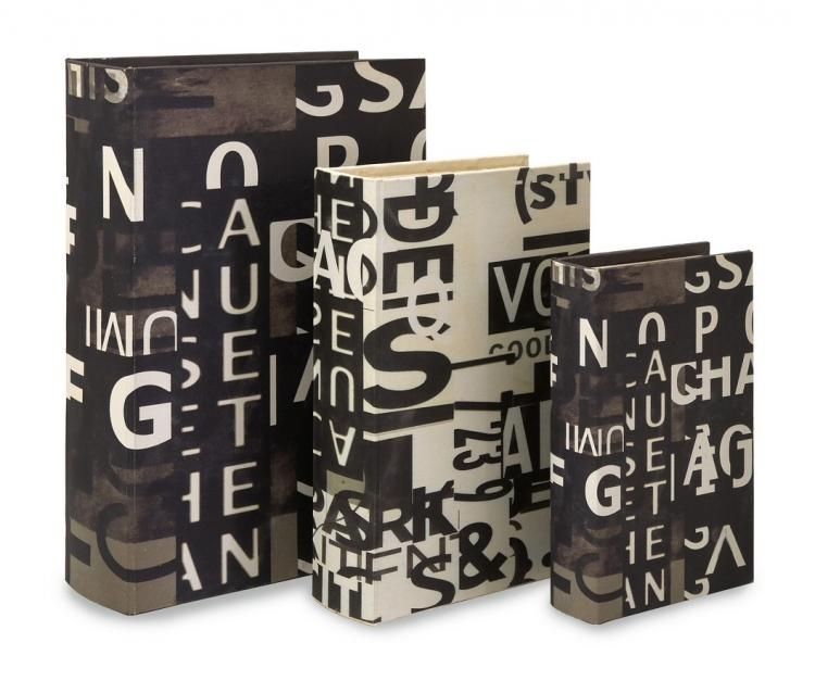Text Collage Book Boxes - Set of 3 - IMAX