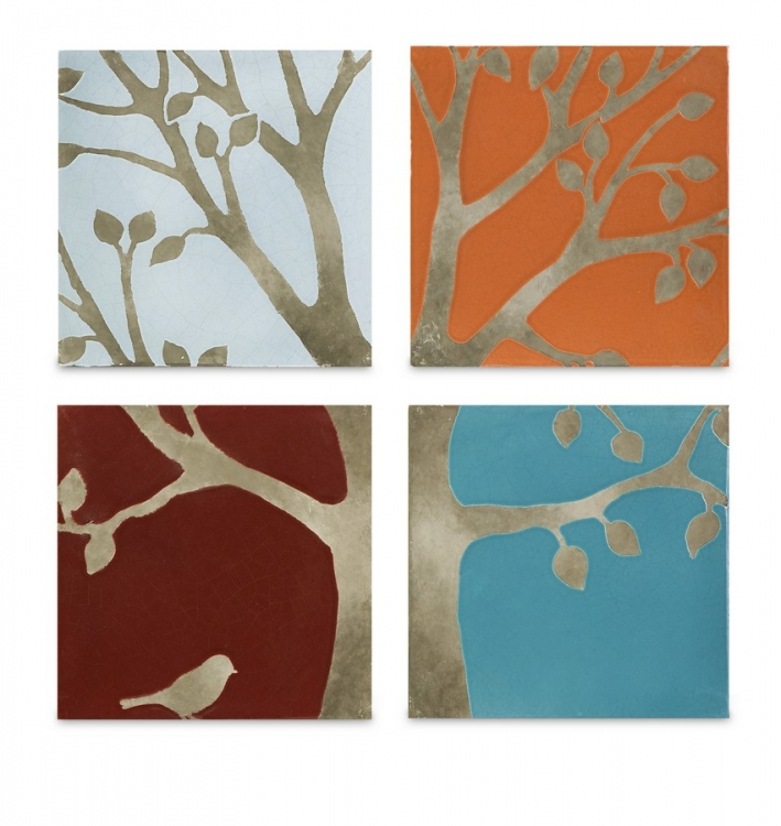 Meadow Terracotta Wall Tiles - Set of 4 - IMAX