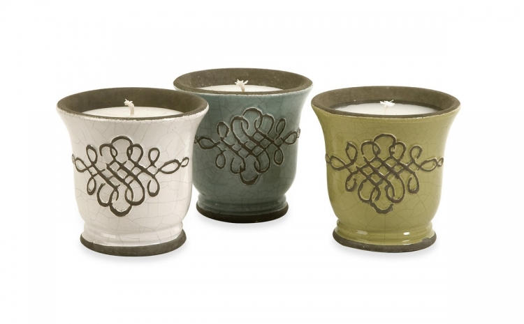 Louise Ceramic Candles - Set of 3 - IMAX