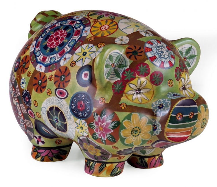 Folkart Piggy Bank