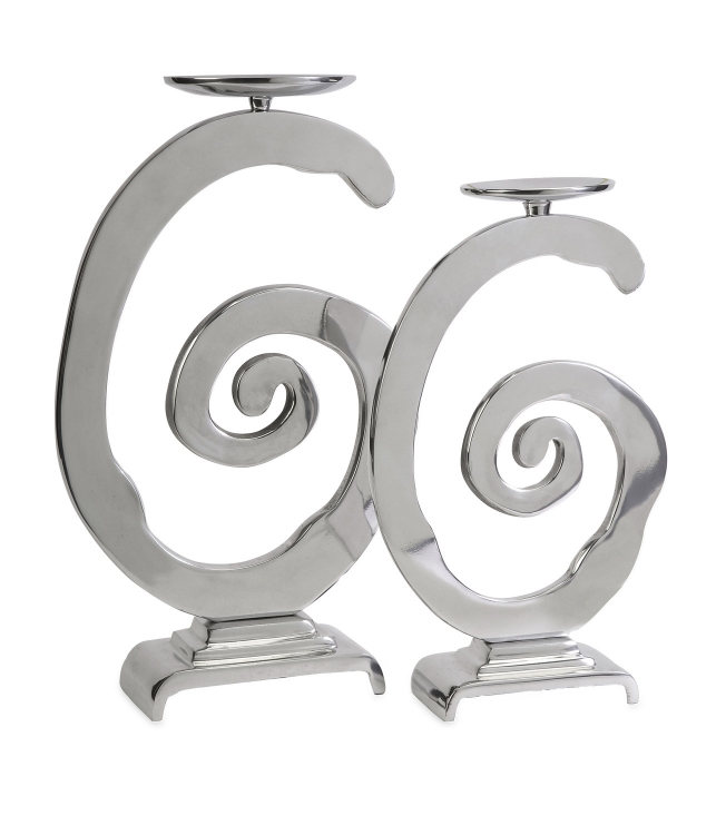 Gallery Swirl Candle Holders - Set of 2 - IMAX