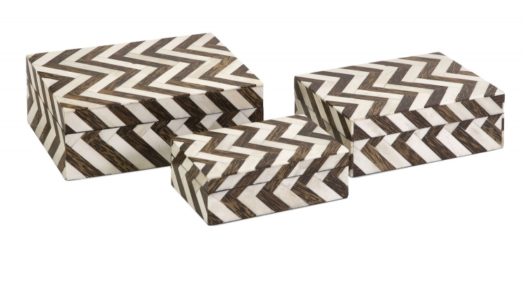 Zig Zag Bone Inlay Boxes - Set of 3 - IMAX