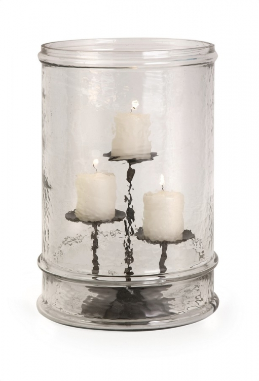 Tabitha Glass Cylinder with Three Pillar Holder