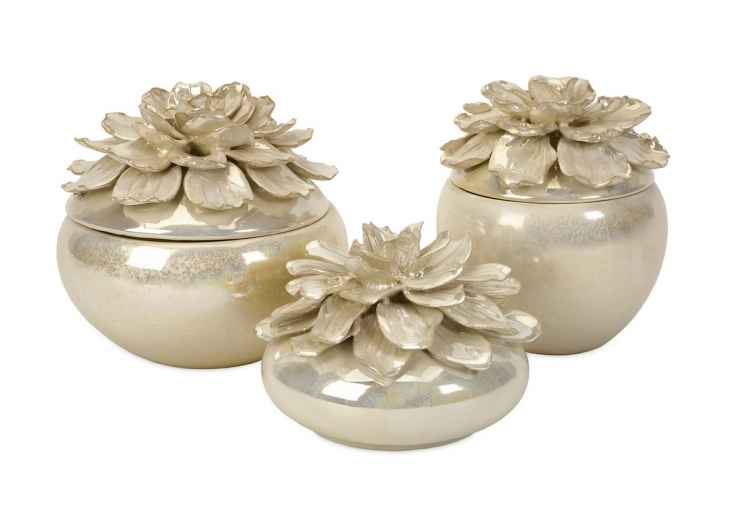 Blair Hand-Sculpted Floral Boxes - Set of 3