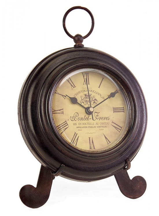 Brown Iron Desk Clock - IMAX