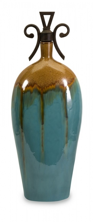 Kirkly Tall Ceramic Vase with Metal Stopper - IMAX