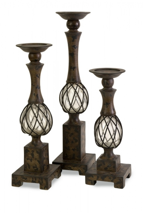 CKI Tuscany Blown Glass Candleholders - Set of 3 - IMAX