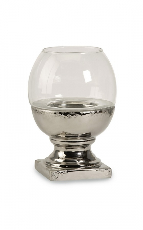 Sanura Small Glass And Ceramic Candleholder - IMAX