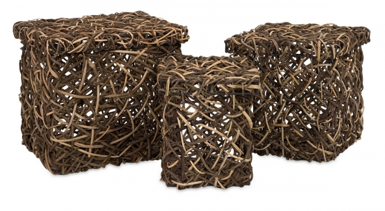 Mixed Rattan Square Boxes - Set of 3