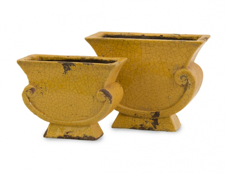 Neville Yellow Distressed Planters - Set of 2 - IMAX