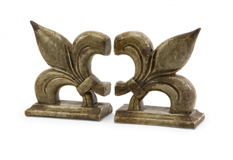 Fleur De Lis Ceramic Bookends - Set of 2 - IMAX