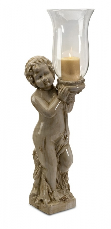 Evelyn Ceramic Angel with Glass Hurricane - IMAX