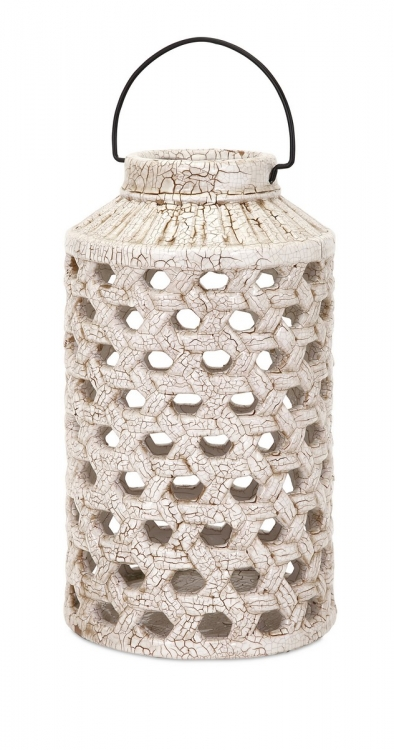 Verandah Large Cutwork Ceramic Lantern