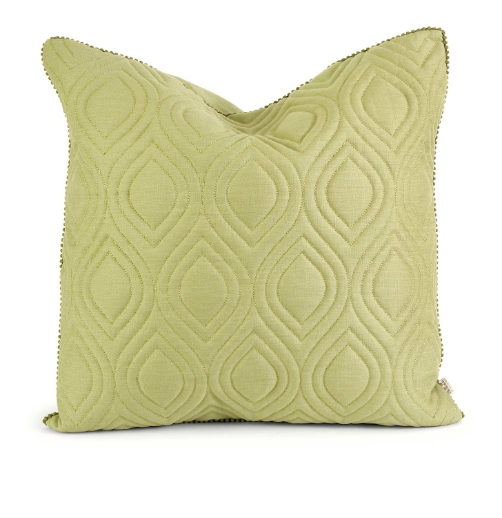 Ik Kavita Green Linen Quilted Pillow with Down Fill