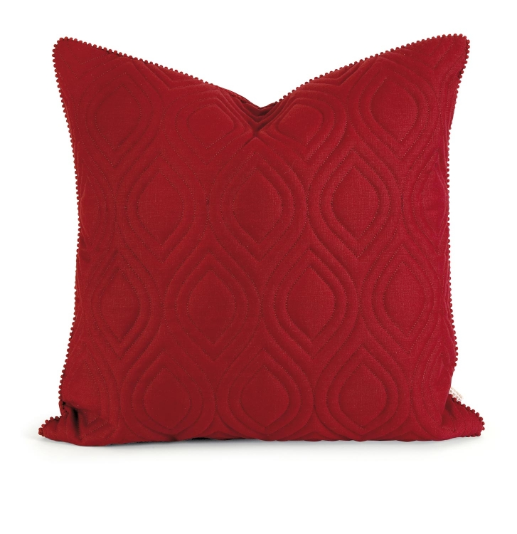 Ik Kavita Red Linen Quilted Pillow with Down Fill