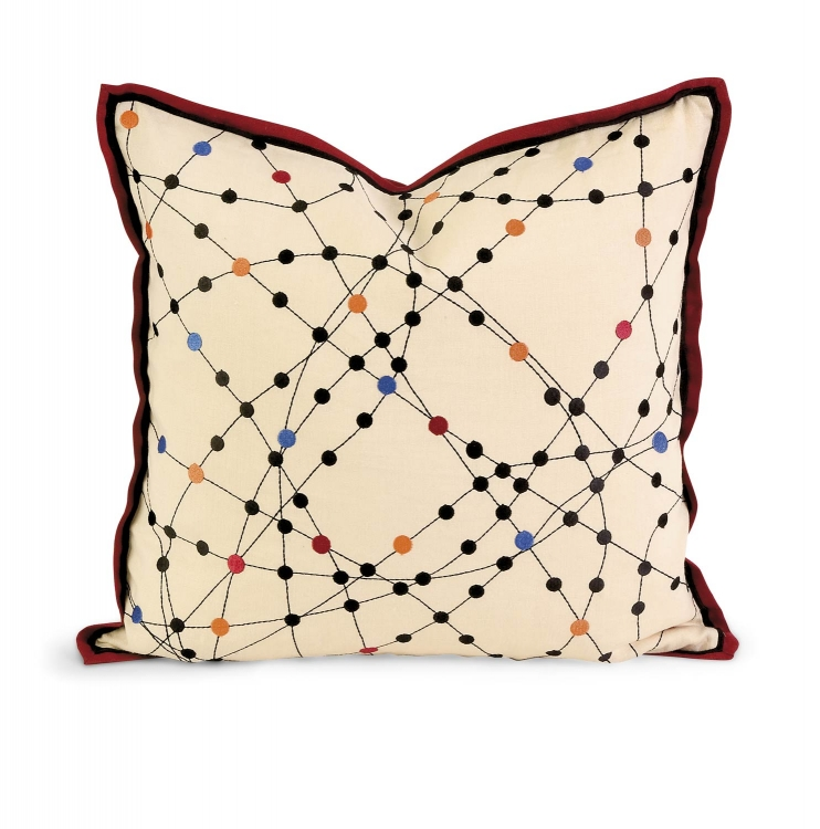 Ik Xander Embroidered Linen Pillow with Down Fill