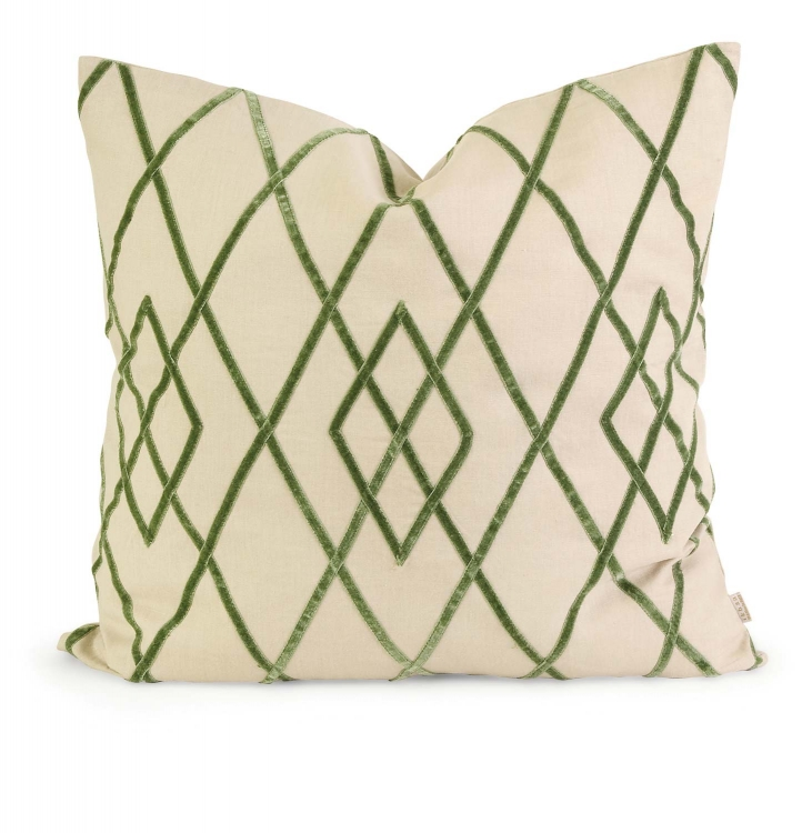 Ik Ayaka Green Velvet on Linen Pillow with Down Fill - IMAX