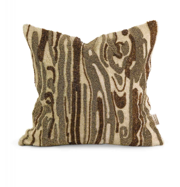 Ik Lavitra Hand Beaded Pillow with Down Fill