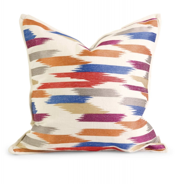 Ik Naledi Embroidered Pillow with Down Fill