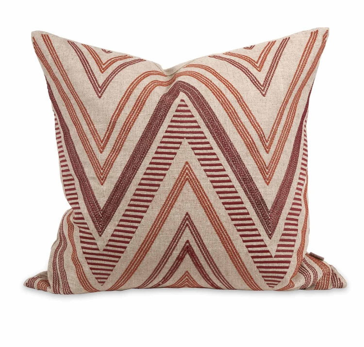 Ik Kamaria Embroidered Pillow with Down Insert