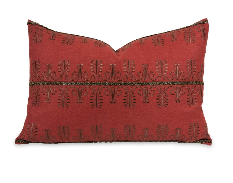 Ik Arezo Beaded Embroidery Pillow with Down Insert