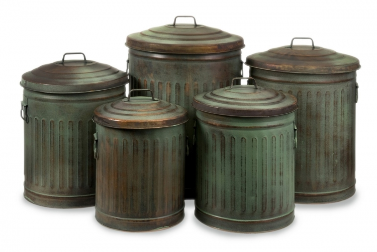 Leva Copper Verdigris Storage Cans - Set of 5 - IMAX
