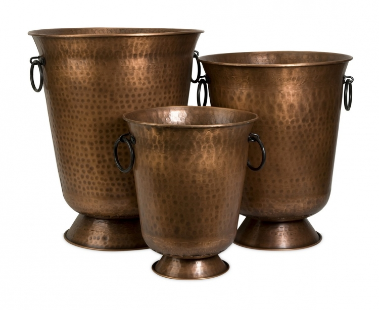 Meziere Copper Plated Planters - Set of 3 - IMAX