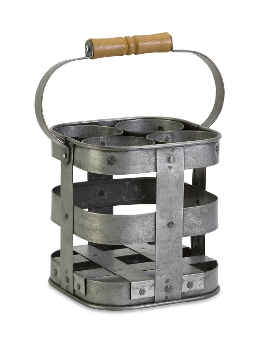 Galvanized 4-Bottle Wine Caddy - IMAX