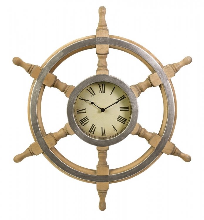 Wood Ship Wheel Clock