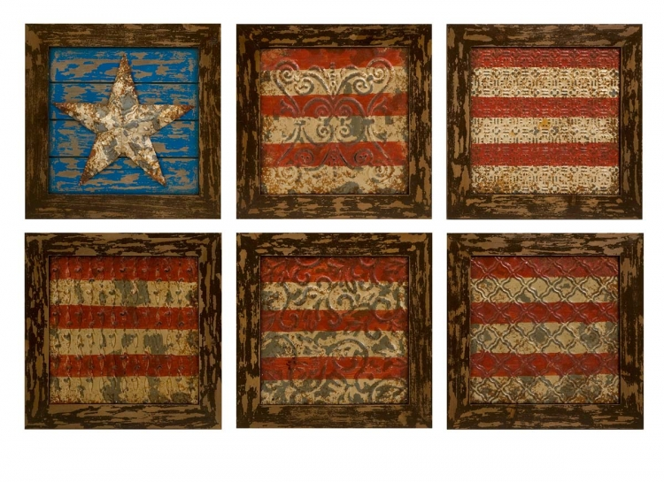 Glory American Flag Wall Decor- Set Of 6 - IMAX