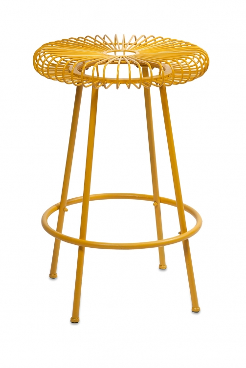 Ellie Yellow Metal Stool