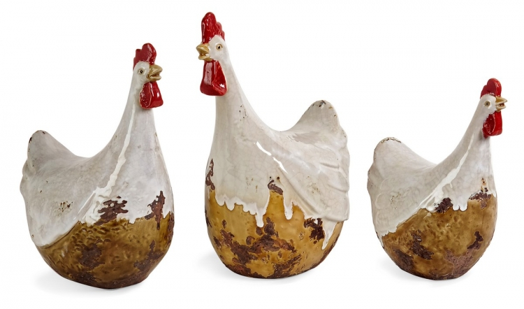 White Antiqued Chickens - Set of 3