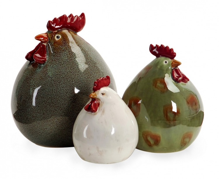 Stylized Chickens - Set of 3